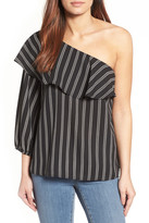 Halogen One-Shoulder Ruffle Blouse