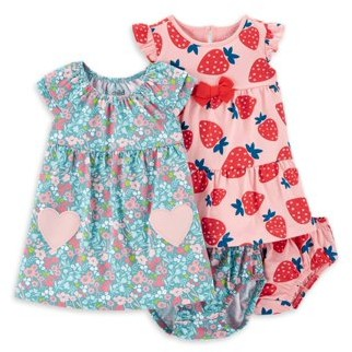 Carter's Child Of Mine By Child of Mine by Baby Girl Short Sleeve Dress and Diaper Cover, 2 Pack