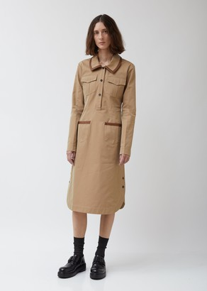 Wales Bonner Safari Dress W/ Leather Trim