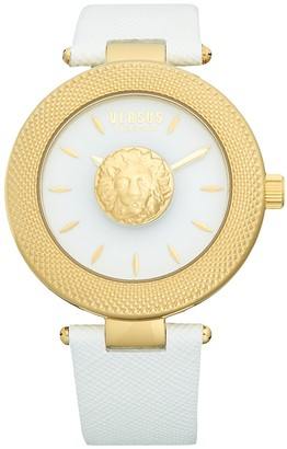 Versace Stainless Steel Metallic Leather-Strap Watch