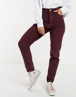 Dr. Denim Nora high rise mom jeans in burgundy cord