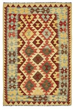 """AR+ Isabelline One-of-a-Kind Doorfield Hand-Knotted 3'2"""" x 4'10"""" Wool Red/Beige Ar Rug Isabelline"""