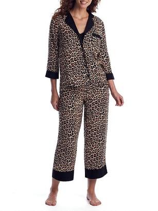 Kate Spade Leopard Cropped Woven Pajama Set