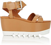 Chloé WOMEN'S LEATHER PLATFORM-WEDGE SANDALS-BROWN SIZE 9
