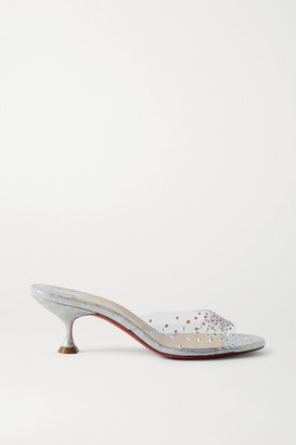 Christian Louboutin Pailettacan 55 Crystal-embellished Pvc And Iridescent Snake-effect Leather Mules - Silver