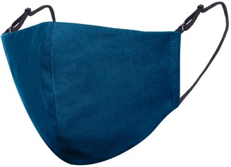 Face My Mask Teal Blue Linen Cotton Face Mask With Filter Pocket