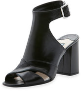 Prada Leather Cutout Ankle-Strap Sandal, Nero