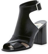 Prada Leather Cutout Ankle-Strap Sandal, Nero