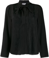 RED Valentino Lace-Trimmed Pussy-Bow Blouse