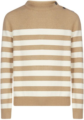 Balmain Striped Wool And Cashmere Sweater
