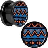 "Body Candy Black Anodized Steel Blue Tribal Print Screw Fit Plug Set 9/16"""