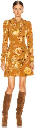 Zimmermann Resistance Silk Twist Mini Dress in Butterscotch Rose | FWRD