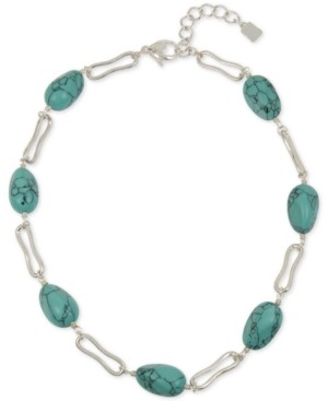 "Robert Lee Morris Soho Silver-Tone Link & Stone Collar Necklace, 18"" + 2"" extender"