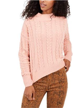 Hippie Rose Juniors' Cable-Knit Drop-Shoulder Sweater