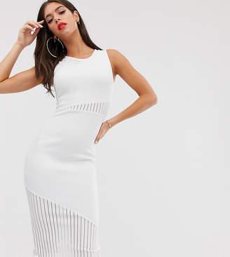 Asos Tall DESIGN Tall self stripe panel detail midi dress-White