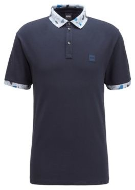 HUGO BOSS Stretch-cotton polo shirt with printed collar and cuffs