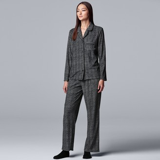 Vera Wang Women's Simply Vera Petite Missy Long Sleeve Velour Notch Collar Pajamas & Socks