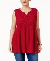 Style&Co. Style & Co Plus Size Crochet-Bib Babydoll Top, Only at Macy's