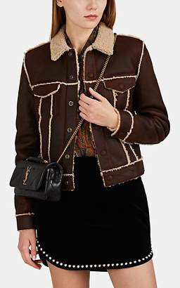 Saint Laurent Women's Shearling Trucker Jacket - Brown