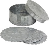 Stonebriar Collection Stonebriar Galvanized Round Coasters & Container 7-piece Set