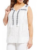 Intro Plus Tassel-Tie Neck Embroidered Top