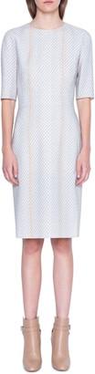 Akris Short Sleeve Tweed Wool Blend Dress