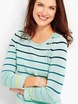 Talbots Lace-Up Shoulder Sweater - Rainbow Stripes