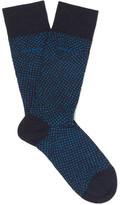 HUGO BOSS Polka-dot Stretch Mercerised Cotton-blend Socks - Blue