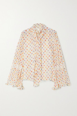 See by Chloe Pussy-bow Floral-print Chiffon Blouse