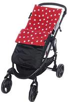 Fleece Footmuff/Cosy Toes Buggy Pushchair Baby Stripe/Dot/Star - Red Star/Black Outer