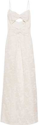 Zimmermann Corsage Bow-embellished Cotton And Silk-blend Guipure Lace Maxi Dress