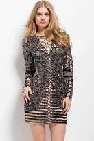 Jovani 41851A Long Sleeve Embellished Short Dress