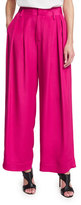 CNC Costume National Pleated-Front Wide-Leg Trousers, Pink