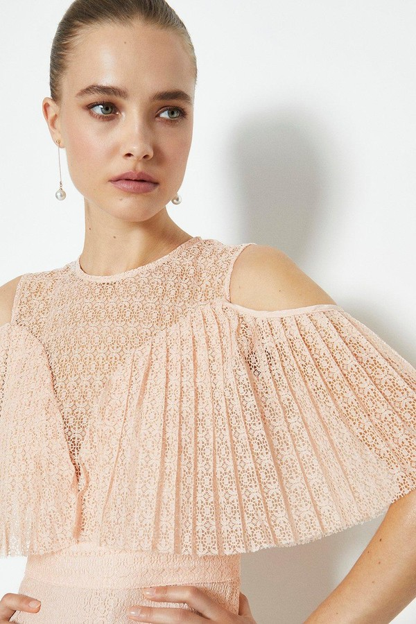 Coast Pleated Lace Bodice Short Dress