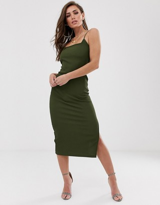 Asos Design DESIGN midi rib bodycon dress with low back-Green