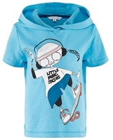 Little Marc Jacobs Blue Hooded Mr Marc Skateboard Tee