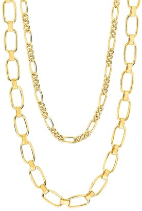 Sterling Forever Goldplated Figaro Square Link Layered Chain Necklace
