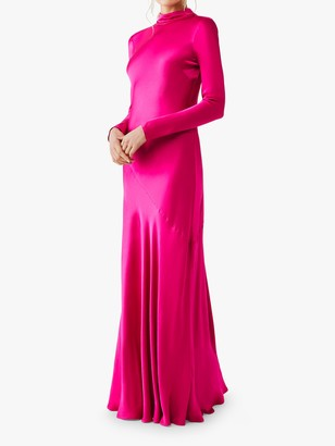 Ghost Rayna High Neck Long Sleeved Gown, Fuschia