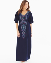 Soma Intimates Luxe Caftan Maxi Dress Adornment Navy RG