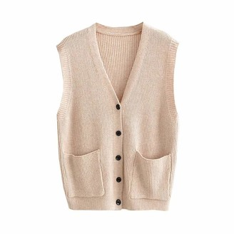 Jodimitty Women V Neck Knit Buttons Vest Sleeveless Cardigan Solid Color Knitted Autumn Elegant Classic Style Loose Sweater Waistcoat Knitwear Pullover Khaki