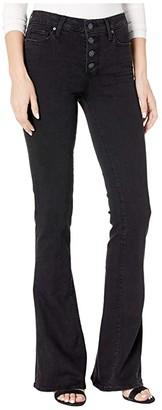 Paige High-Rise Lou Lou w/ Exposed Buttonfly Jeans in Black Sundown (Black Sundown) Women's Jeans