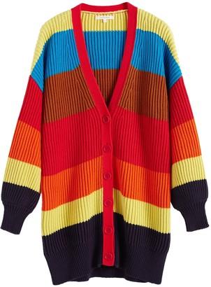 Chinti and Parker Rainbow Riviera Stripe Chunky Knit Cardigan