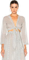 Lisa Marie Fernandez Tie Blouse in Geometric Print,White.
