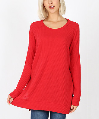 Lydiane Women's Pullover Sweaters RUBY - Ruby Crewneck Side-Slit Waffle-Knit Tunic - Women & Plus