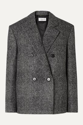 Saint Laurent Checked Wool-blend Blazer - Gray