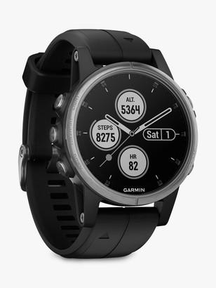 Garmin fenix 5S Plus GPS Multisport Watch, Silver with Black Band, 4.2cm