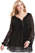 Alfani Plus Size Top, Three-Quarter-Sleeve Dot-Print Lace