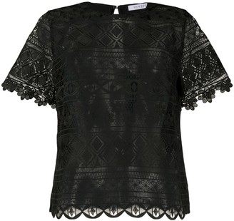 VIVETTA contrast embroidered panel sheer T-shirt