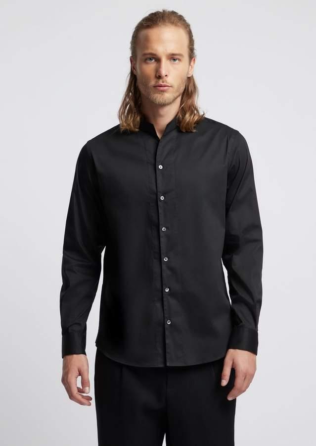 0234dfe36a Twill Cotton Shirt With Mandarin Collar