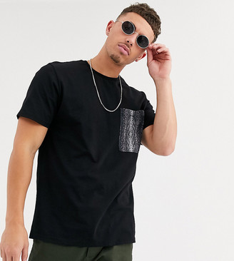 ONLY & SONS snake print pocket t-shirt in black